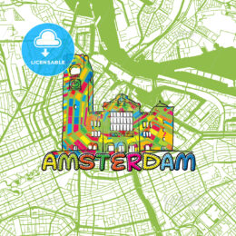 Amsterdam Travel Art Map