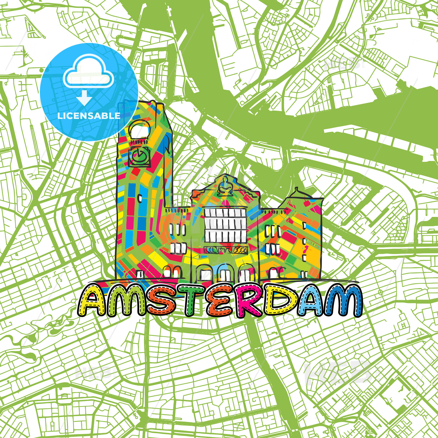 Amsterdam Travel Art Map - HEBSTREITS