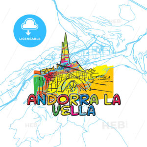 Andorra Travel Art Map - HEBSTREITS