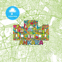 Ankara Travel Art Map