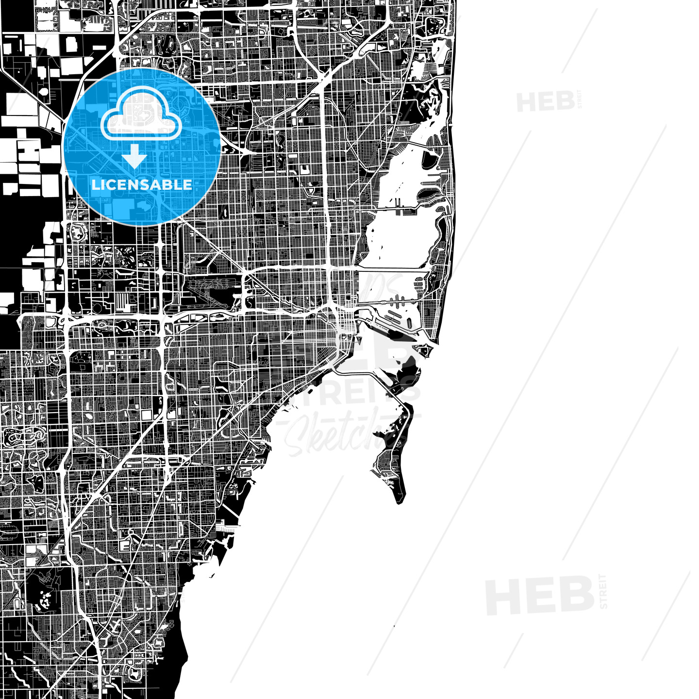 Area map of Miami, USA - HEBSTREITS