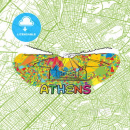 Athens Travel Art Map