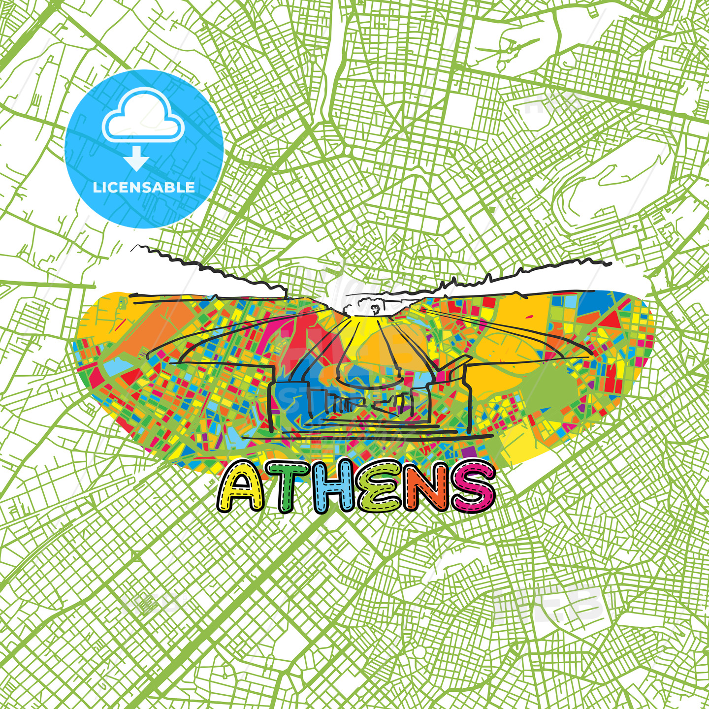 Athens Travel Art Map - HEBSTREITS