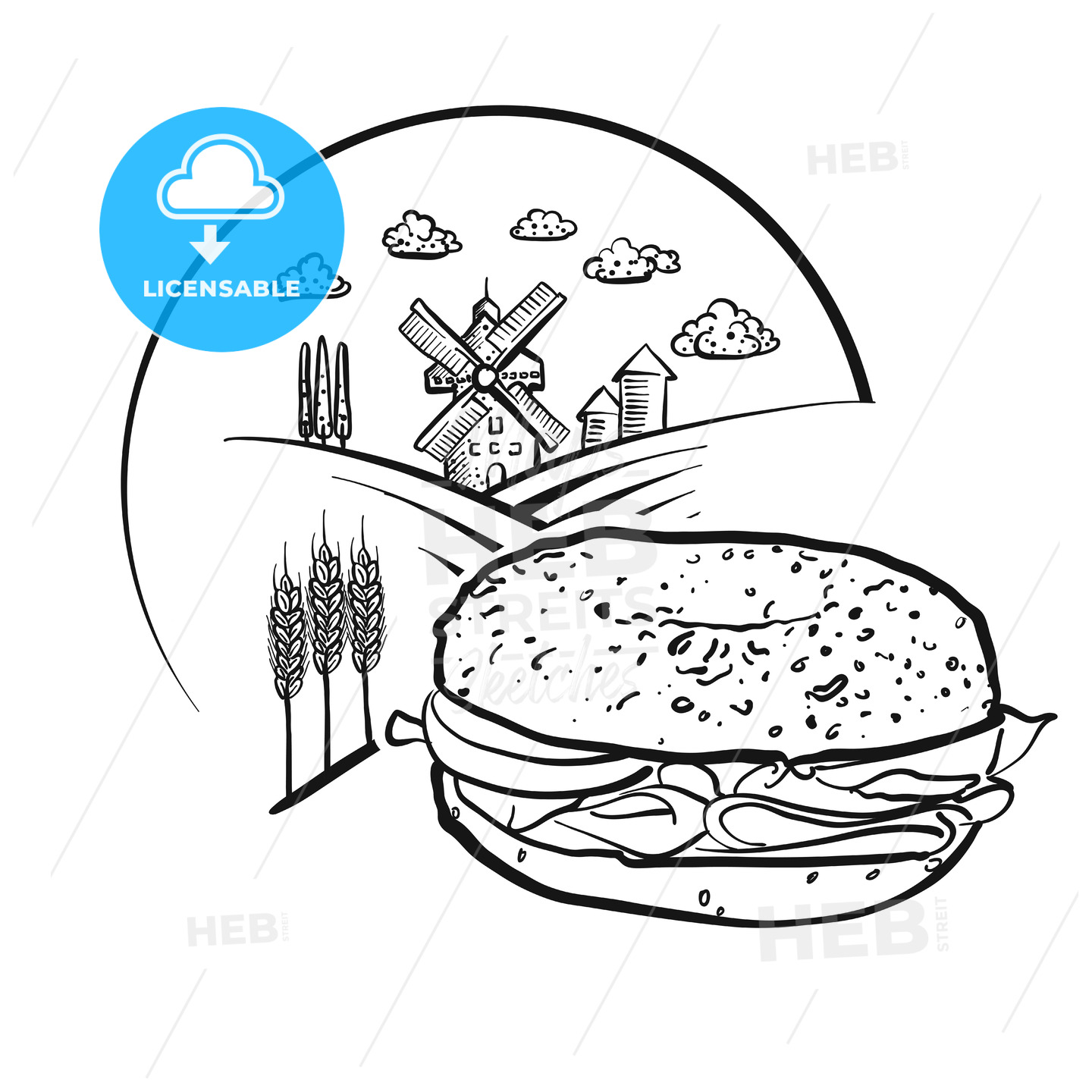 Bagel and Farm Logo Sketch. Vector label sign. - HEBSTREITS