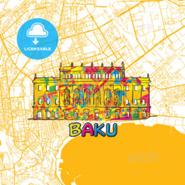 Baku Travel Art Map