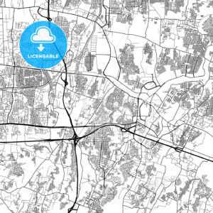 Bekasi, West Java, Downtown City Map, Light - HEBSTREITS