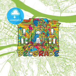 Belgrade Travel Art Map