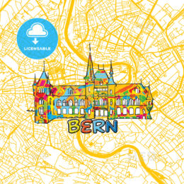 Bern Travel Art Map
