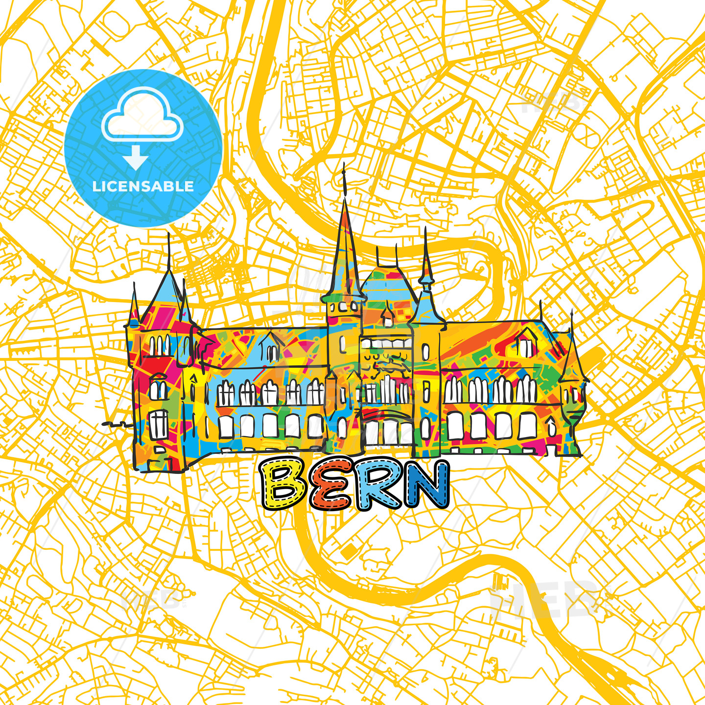 Bern Travel Art Map - HEBSTREITS