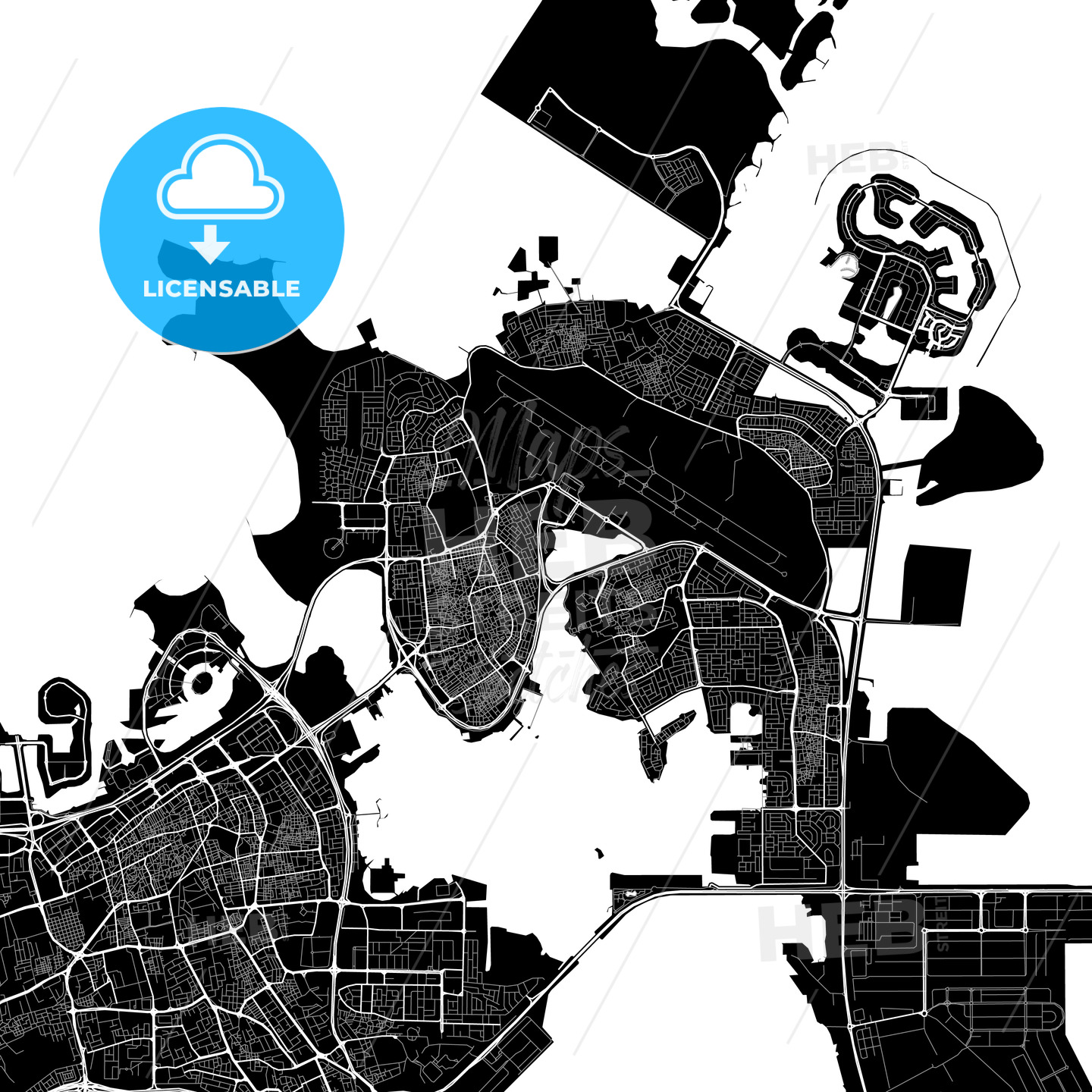 Black and White Area Map of Al Muharraq, Muharraq, Bahrain - HEBSTREITS