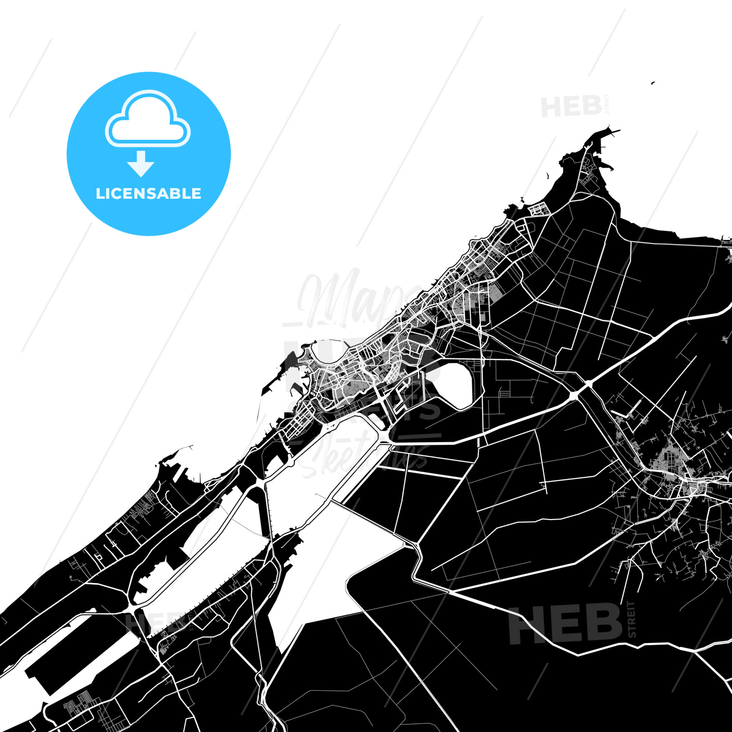 Black and White Area Map of Alexandria, Egypt - HEBSTREITS