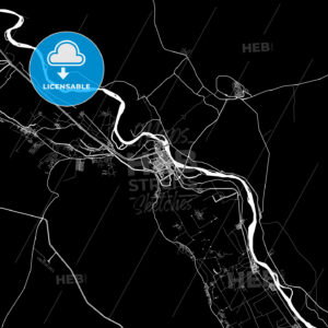 Black and White Area Map of Assiut, Asyut, Egypt - HEBSTREITS