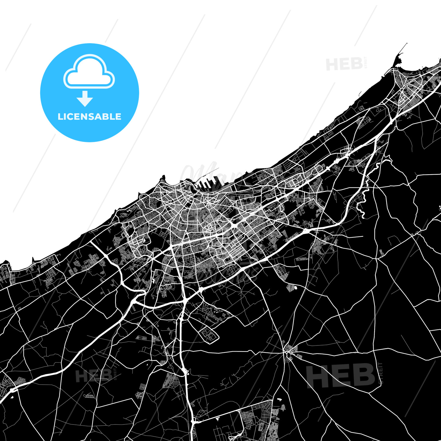 Black and White Area Map of Casablanca, Casablanca-Settat, Morocco - HEBSTREITS