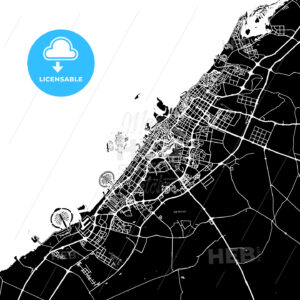 Black and White Area Map of Dubai, United Arab Emirates - HEBSTREITS