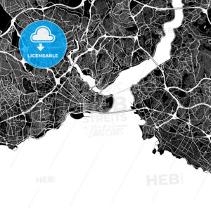 Black and White Area Map of Istanbul, Turkey - HEBSTREITS