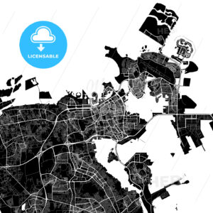 Black and White Area Map of Manama, Bahrain - HEBSTREITS