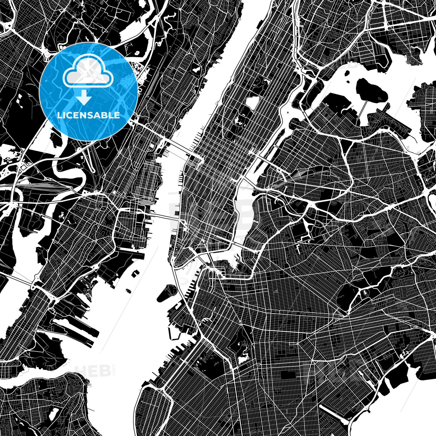 Area map of New York City, USA