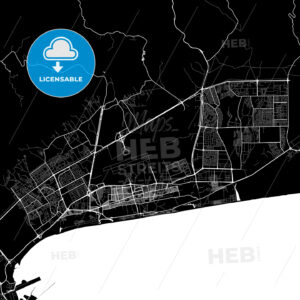 Black and White Area Map of Salalah, Dhofar, Oman - HEBSTREITS