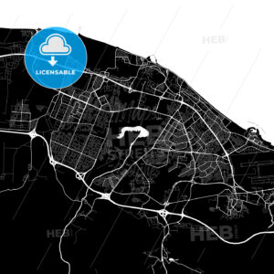 Black and White Area Map of Seeb, Muscat, Oman - HEBSTREITS
