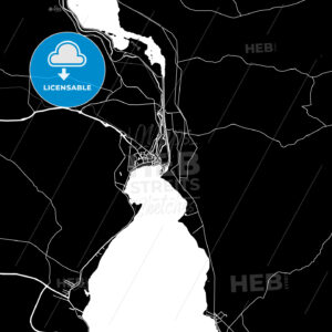 Black and White Area Map of Suez, Egypt - HEBSTREITS