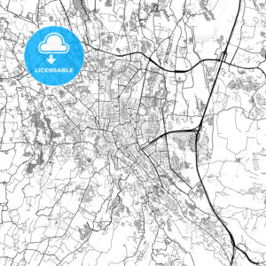 Bogor, West Java, Downtown City Map, Light - HEBSTREITS