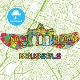 Brussels Travel Art Map