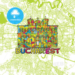 Bucharest Travel Art Map