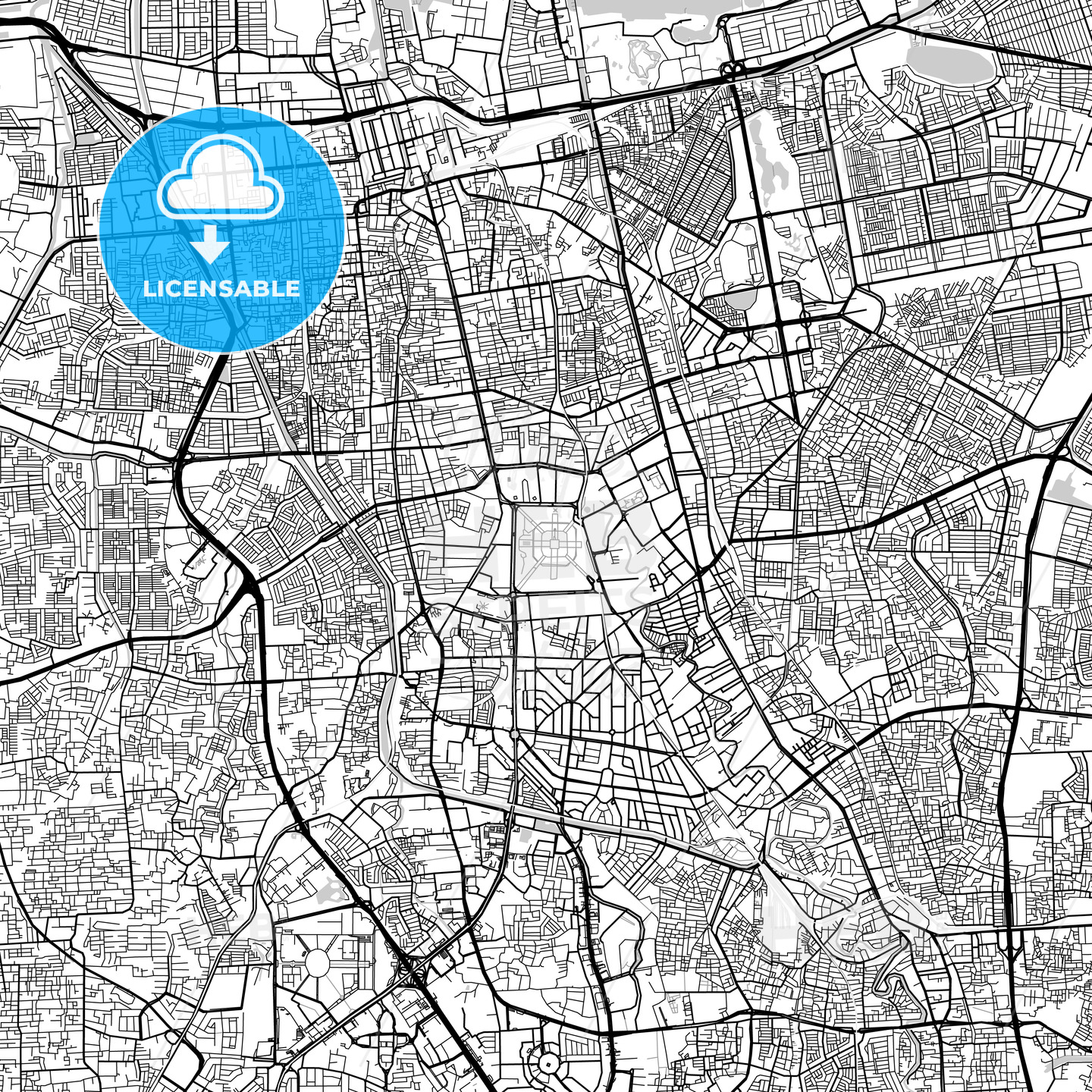 Central Jakarta, Indonesia, Downtown City Map, Light - HEBSTREITS