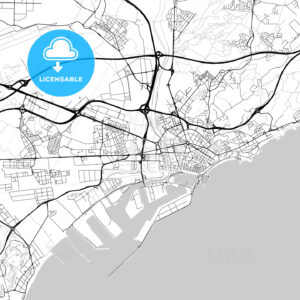 City map of Tarragona, Spain, light version - HEBSTREITS