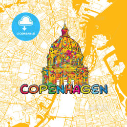 Copenhagen Travel Art Map