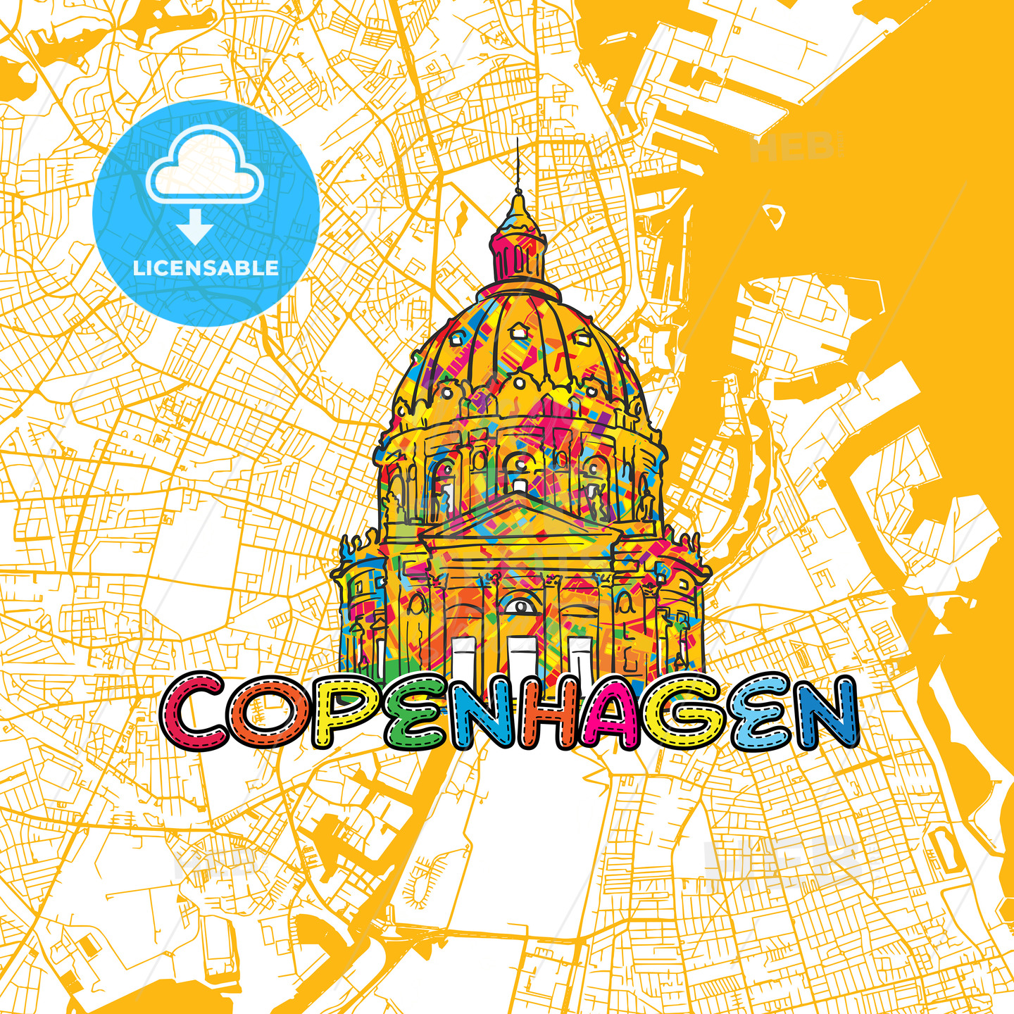 Copenhagen Travel Art Map - HEBSTREITS