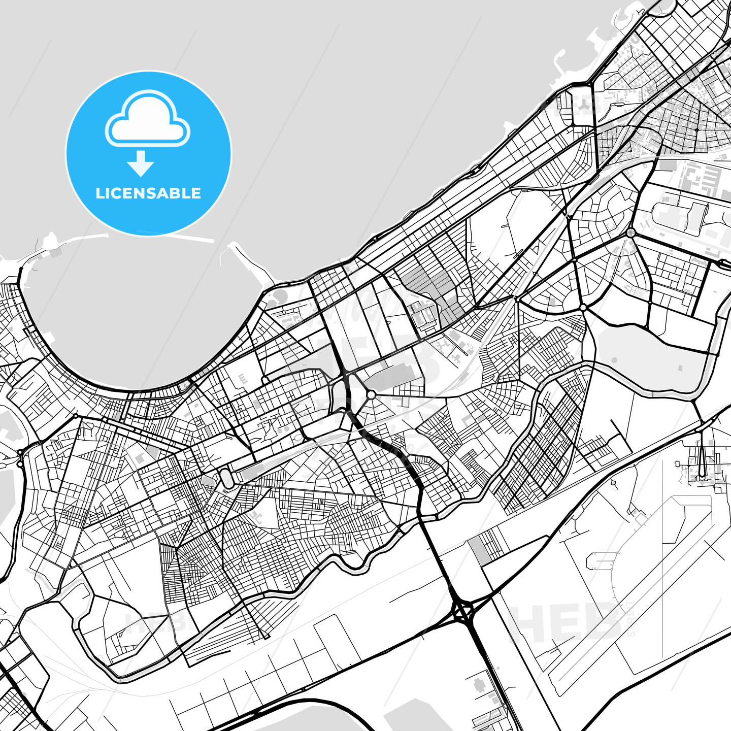Downtown map of Alexandria, Egypt | HEBSTREITS Sketches