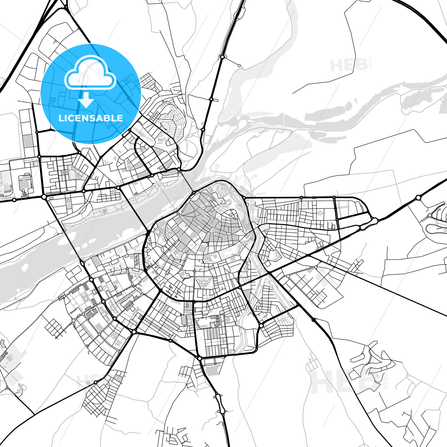 Downtown map of Badajoz, Spain - HEBSTREITS