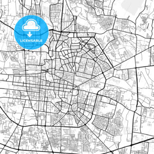 Downtown map of Bandung, West Java, Indonesia - HEBSTREITS
