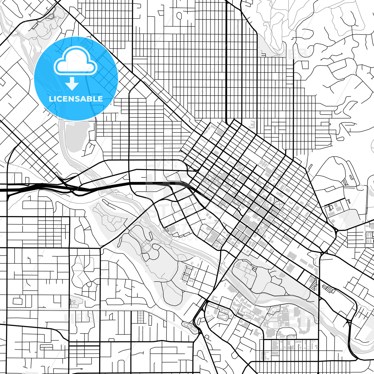 Downtown map of Boise, USA - HEBSTREITS