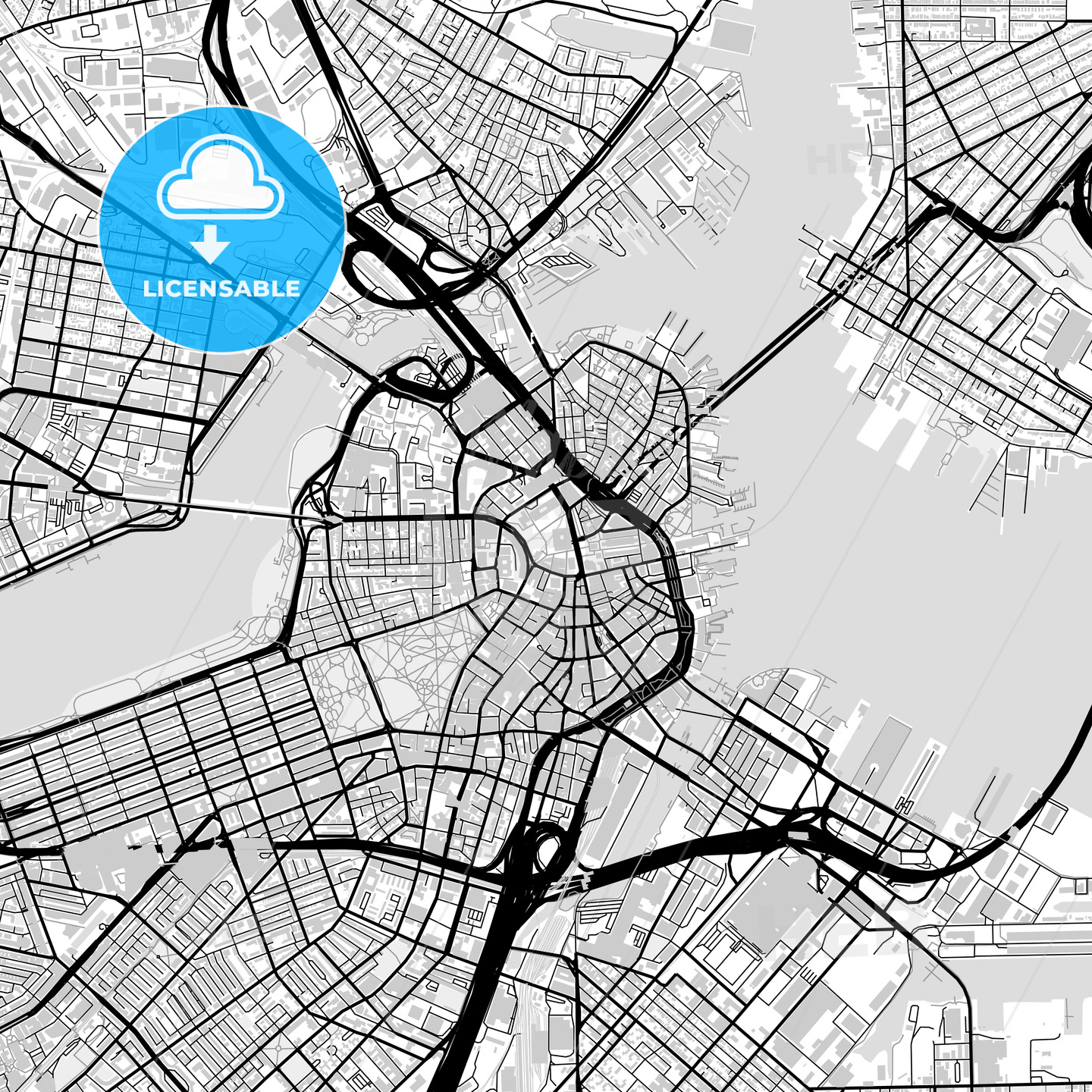 Downtown map of Boston, USA - HEBSTREITS
