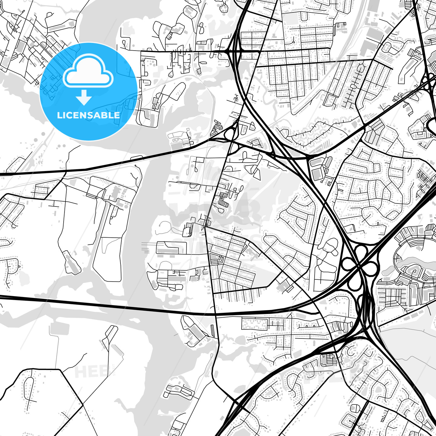 Downtown map of Chesapeake, USA - HEBSTREITS