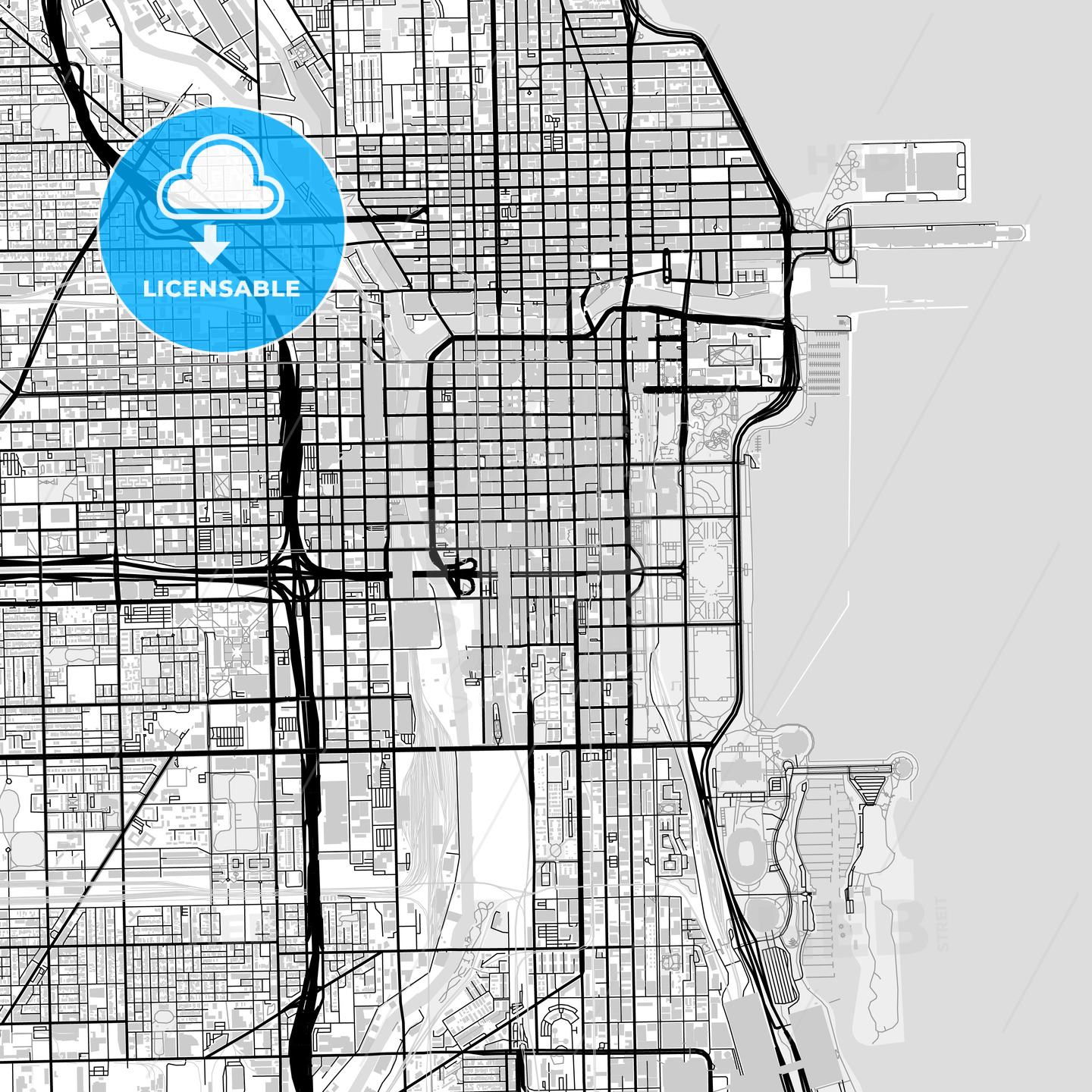Downtown map of Chicago, USA - HEBSTREITS