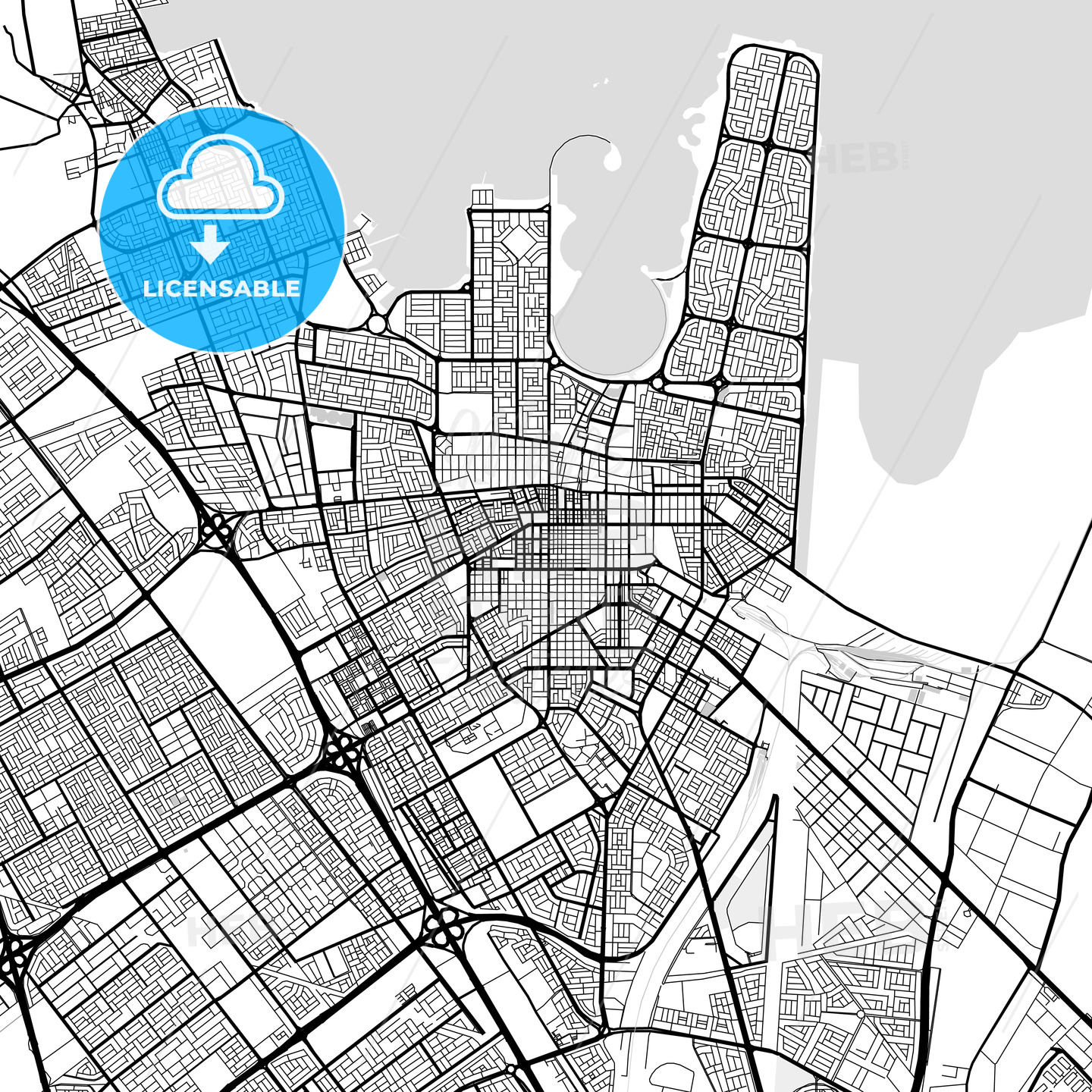 Downtown map of Dammam, Saudi Arabia | HEBSTREITS Sketches on