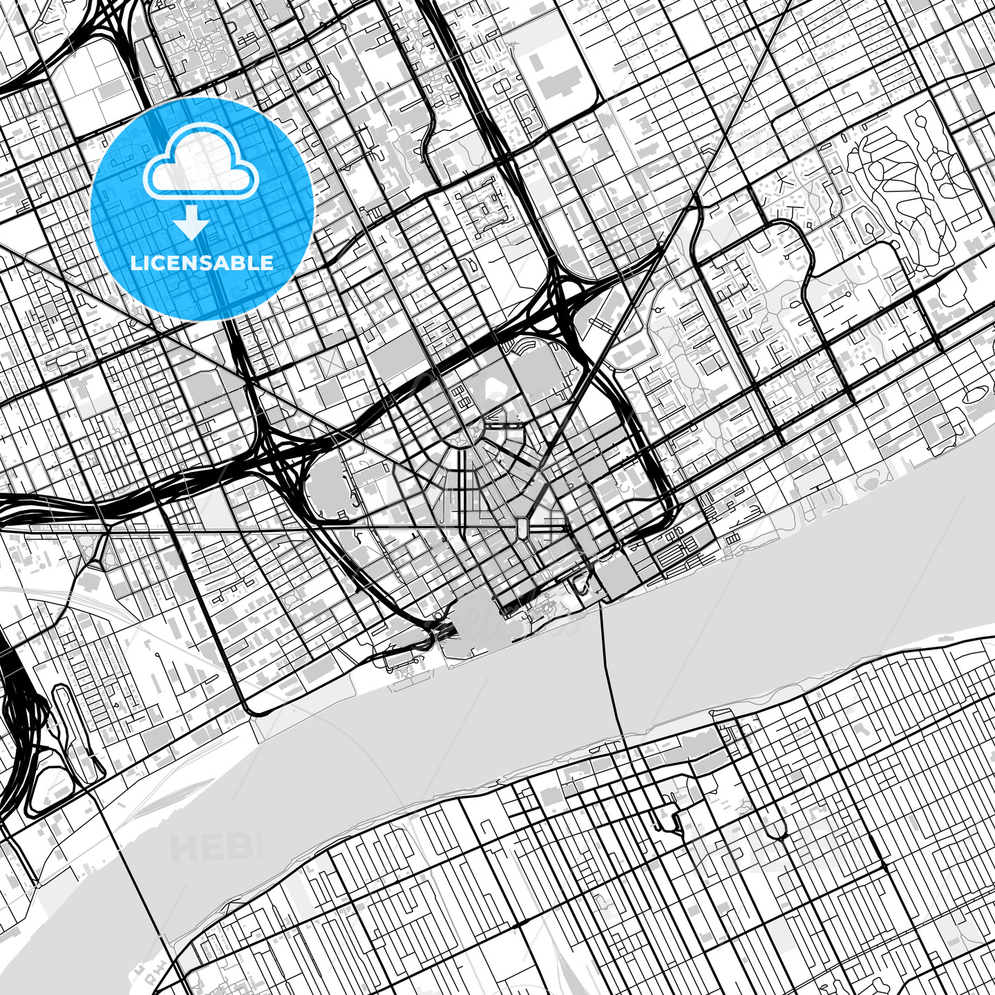 Downtown map of Detroit, USA | HEBSTREITS Sketches on