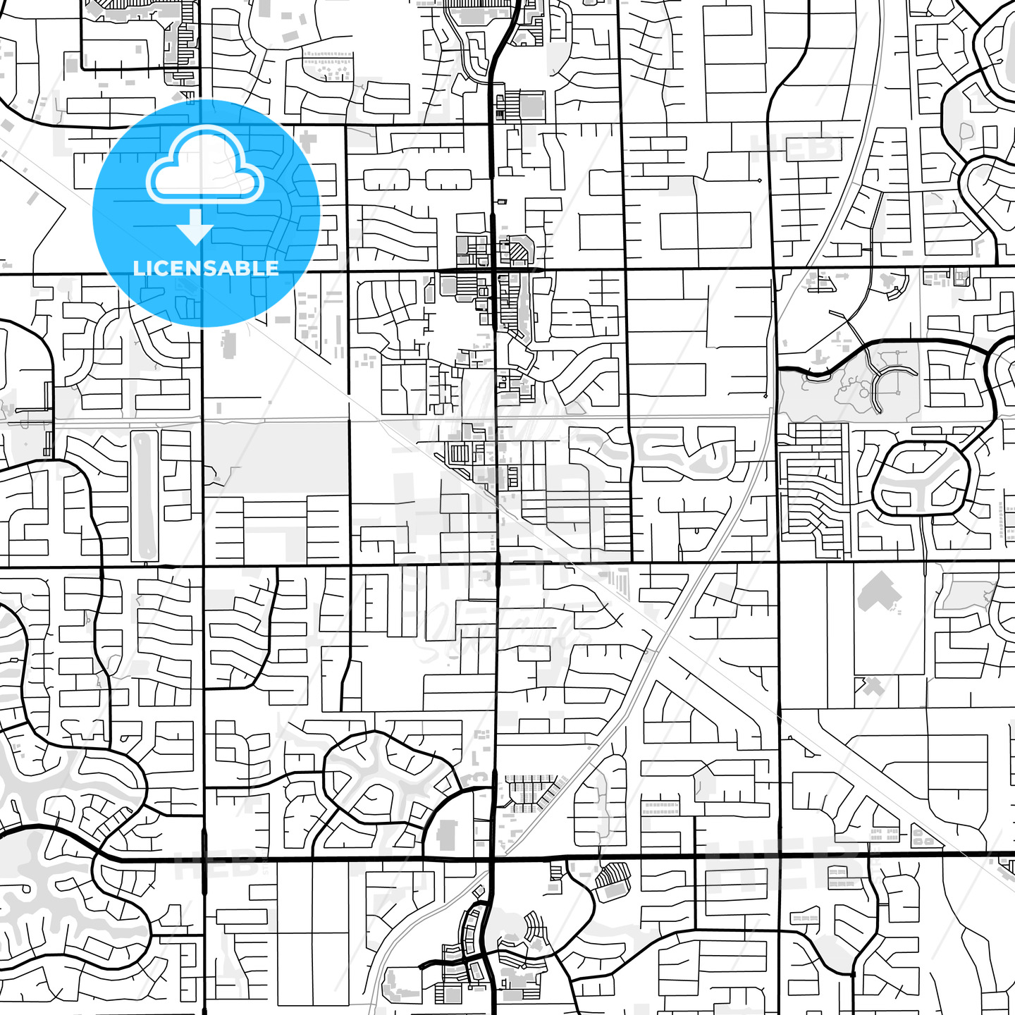 Downtown map of Gilbert, USA - HEBSTREITS
