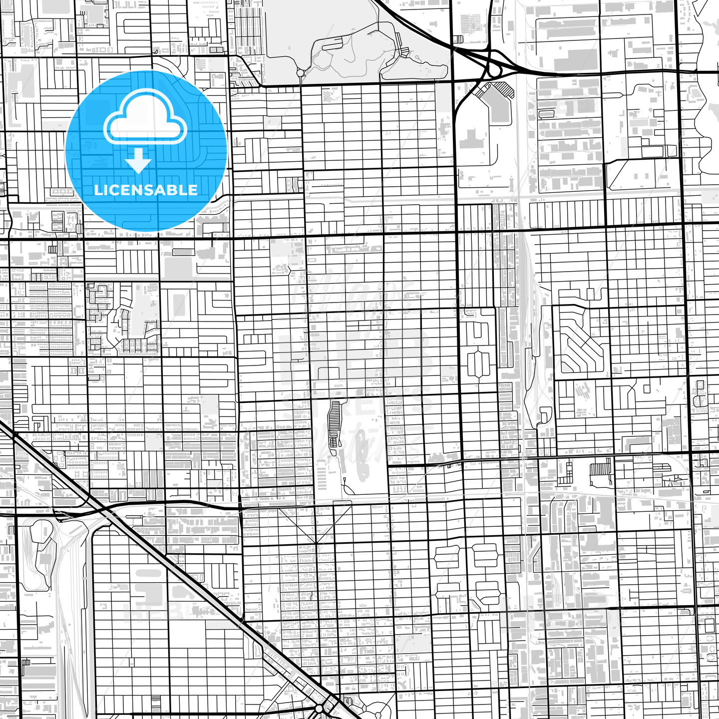 Downtown map of Hialeah, USA - HEBSTREITS
