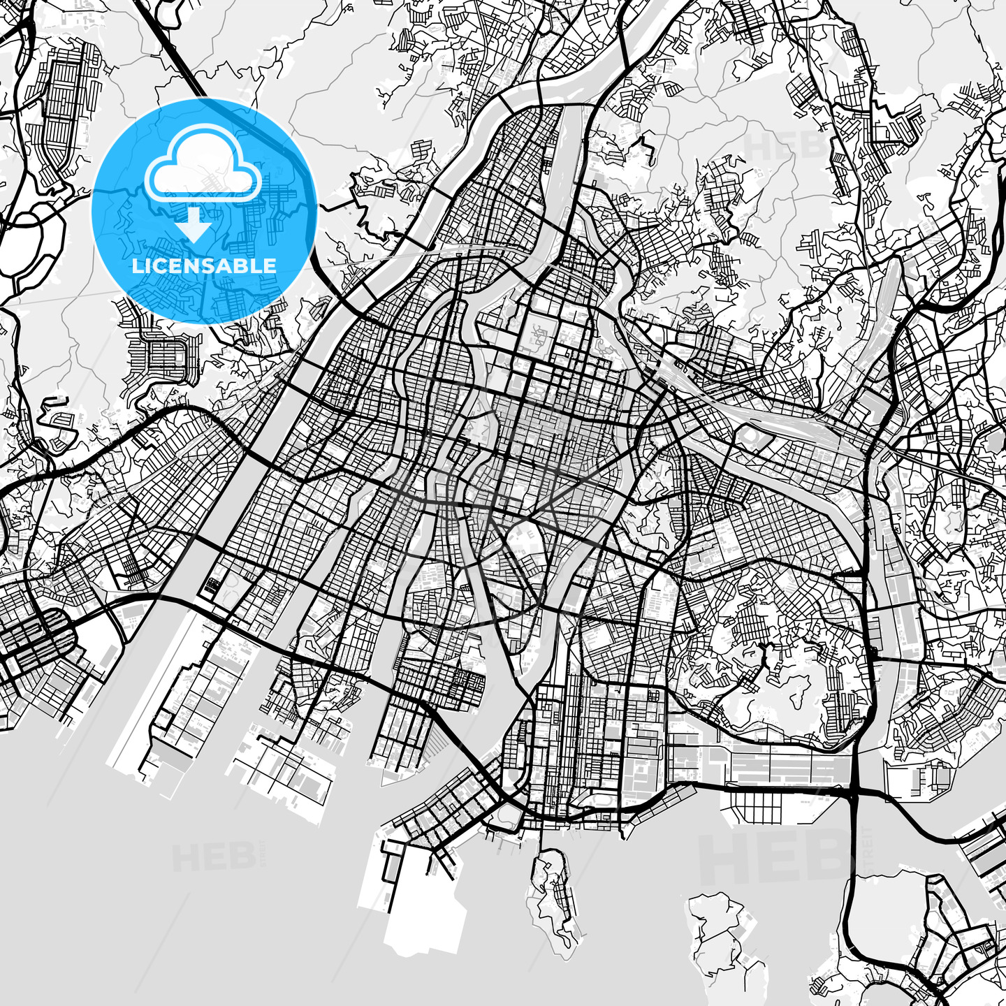 Downtown map of Hiroshima, Japan (広島市) | HEBSTREITS Sketches