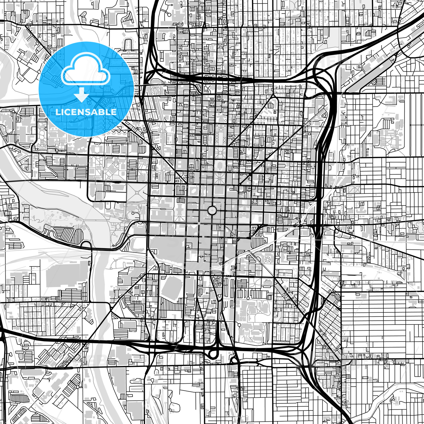Downtown map of Indianapolis, USA - HEBSTREITS