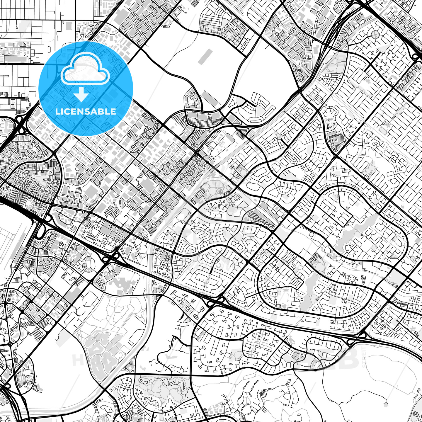 Downtown map of Irvine, USA - HEBSTREITS