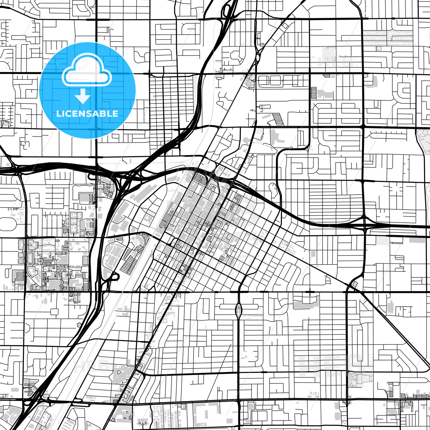 Downtown map of Las Vegas, USA | HEBSTREITS