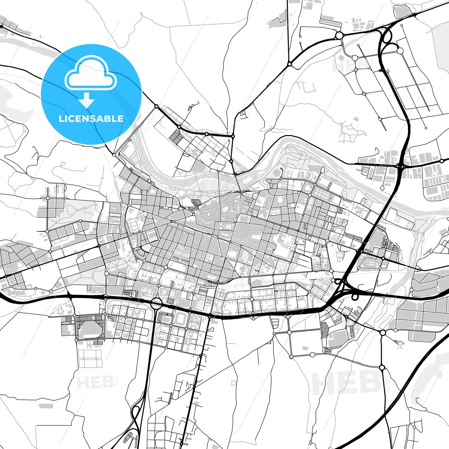 Downtown map of Logroño, Spain - HEBSTREITS