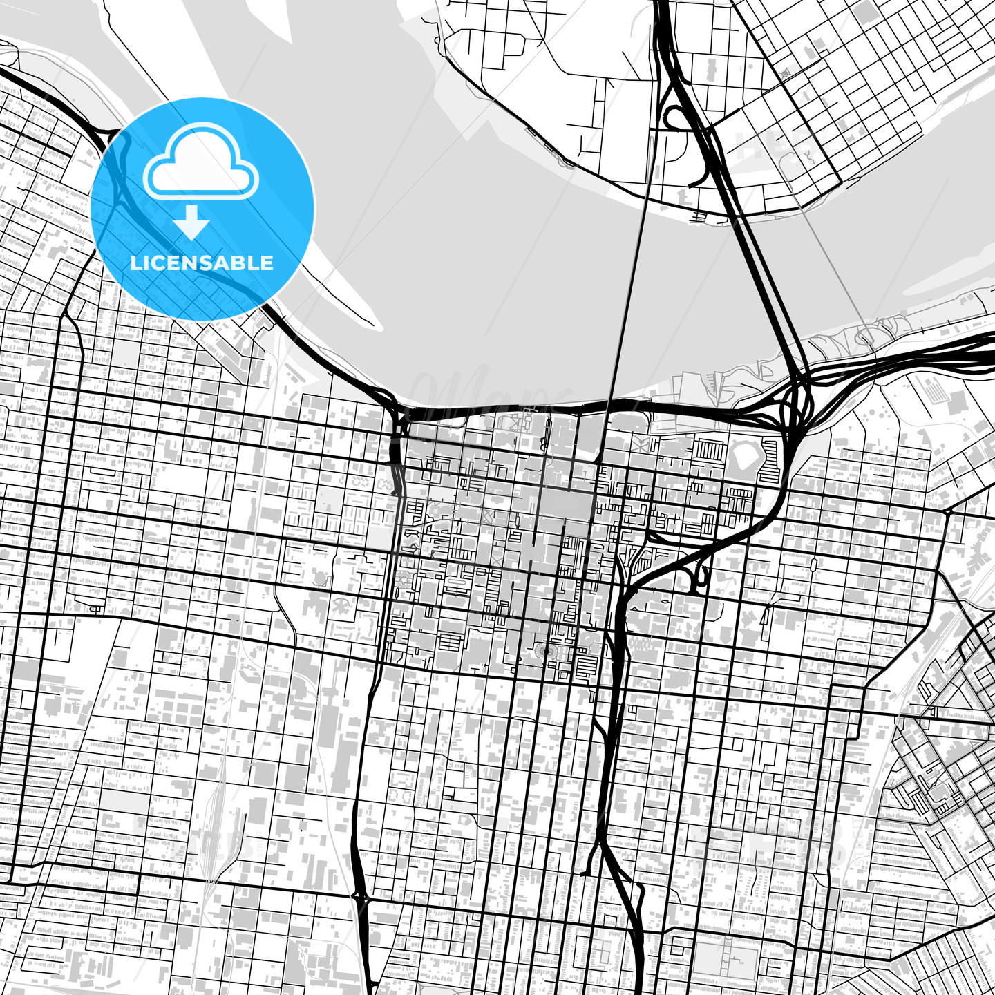 Downtown map of Louisville, USA - HEBSTREITS