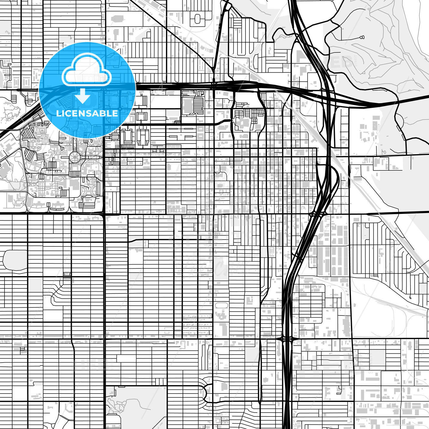 Downtown map of Lubbock, USA - HEBSTREITS
