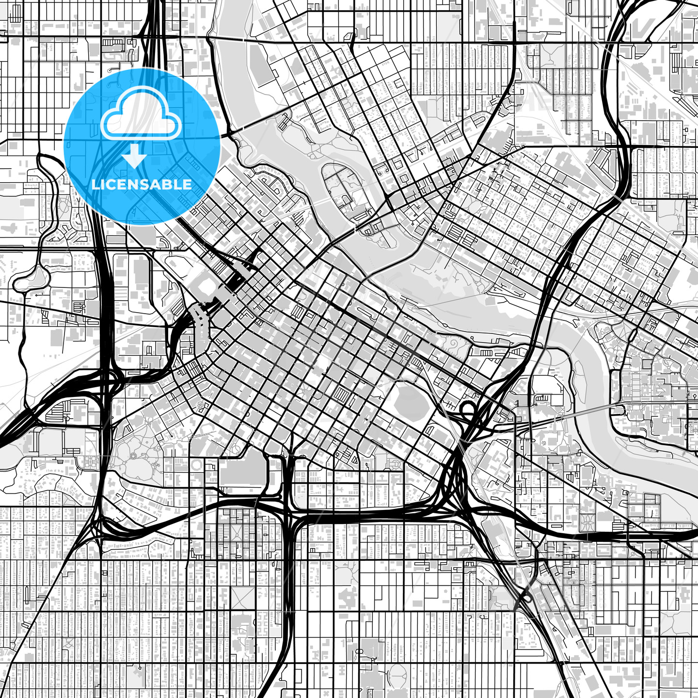 Downtown map of Minneapolis, USA - HEBSTREITS